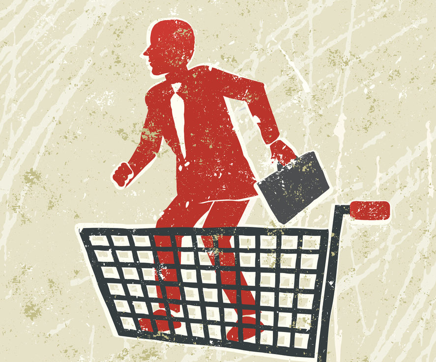 Graphic of potential husband in shopping trolley